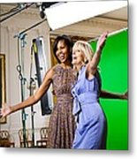 Michelle Obama And Jill Biden Joke Metal Print by Everett