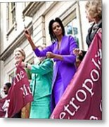 Michelle Obama Cuts The Ribbon Metal Print by Everett