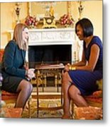 Michelle Obama Greets Mrs. Ada Metal Print by Everett