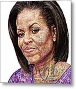 Michelle Obama With An Ipad Metal Print by Edward Ofosu