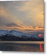 Midnight Sun Over Tjeldsundet Strait Metal Print by Arild Heitmann