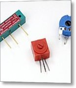 Mini Pcb Potentiometers Metal Print by Trevor Clifford Photography