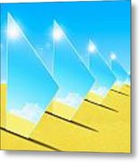 Mirrors On Sand In Blue Sky Metal Print by Setsiri Silapasuwanchai