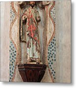Mission San Xavier Del Bac - Interior Sculpture Metal Print by Suzanne Gaff