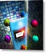 Mobile Telephone Text Messaging Metal Print by Victor Habbick Visions