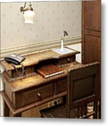 Modern Phone On An Old Fashioned Desk Metal Print by Jaak Nilson
