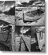 Montage Of Wrecked Boats Metal Print by Meirion Matthias