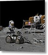 Moon Exploration, Artwork Metal Print by Walter Myers