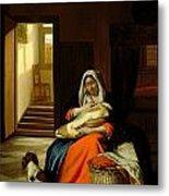 Mother Nursing Her Child Metal Print by  Pieter de Hooch