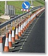 Motorway Traffic Cones Metal Print by Linda Wright