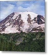 Mount Rainier With Coniferous Forest Metal Print by Tim Fitzharris