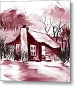 Mountain Cabin Metal Print by David Lane