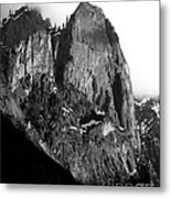 Mountains Of Yosemite . 7d6167 . Vertical Cut . Black And White Metal Print by Wingsdomain Art and Photography
