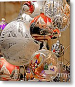 Mouth-blown Hand Painted Christmas Ornaments Metal Print by Christine Till