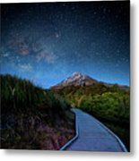 Mt. Ekmond At Night With Starlight Metal Print by Coolbiere Photograph