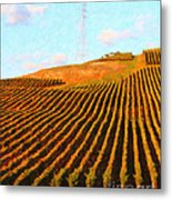 Napa Valley Vineyard . Portrait Cut Metal Print by Wingsdomain Art and Photography