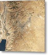 Natural-color Satellite View Of Amman Metal Print by Stocktrek Images