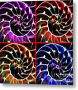 Nautilus Shell Ying And Yang - Electric - V1 - Four Squares Metal Print by Wingsdomain Art and Photography