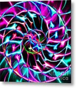 Nautilus Shell Ying And Yang - Electric - V2 - Violet Metal Print by Wingsdomain Art and Photography