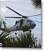 Navy Seals Look Out The Helicopter Door Metal Print by Michael Wood