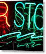 Neon Bar Stools Metal Print by Steven Milner