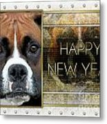 New Year - Golden Elegance Boxer Metal Print by Renae Laughner