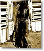 Nice Try Cowboy Dark Metal Print by Andrea Arnold
