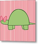 Nursery Art Girls Turtle Metal Print by Christy Beckwith