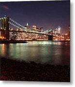 Nyc Brooklyn Nights Metal Print by Nina Papiorek