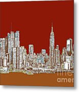 Nyc Red Sepia  Metal Print by Adendorff Design