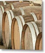 Oak Wine Barrels In Castillion La Bataille, France Metal Print by Steven Morris Photography