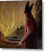 Odin Leaves As The Flames Rise Metal Print by H Hendrich