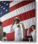 Officers Render Honors During A Change Metal Print by Stocktrek Images