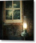Oil Lamp On Table By Window Metal Print by Jill Battaglia