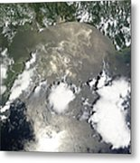 Oil Slick In The Gulf Of Mexico Metal Print by Stocktrek Images