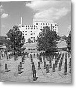 Oklahoma City National Memorial Black And White Metal Print by Ricky Barnard