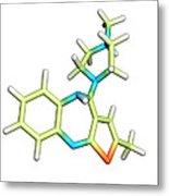 Olanzapine Antipsychotic Drug Molecule Metal Print by Dr Tim Evans