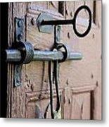 Old Door Of Wood With Its Worn Lock Metal Print by Bernard Jaubert