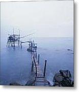 Old Fishing Platform At Dusk Metal Print by Axiom Photographic