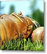 Old Glove And Baseball  Metal Print by Sandra Cunningham