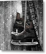 Old Ice Skates Hanging On Barn Wall Metal Print by Sandra Cunningham