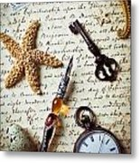 Old Letter With Pen And Starfish Metal Print by Garry Gay