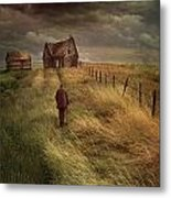 Old Man Walking Up A Path Of Tall Grass With Abandoned House In  Metal Print by Sandra Cunningham