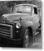 Old Nostalgic American Gmc Flatbed Truck . 7d9821 . Black And White Metal Print by Wingsdomain Art and Photography