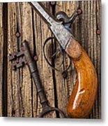 Old Pistol And Skeleton Key Metal Print by Garry Gay