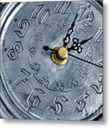 Old Silver Clock Metal Print by Carlos Caetano