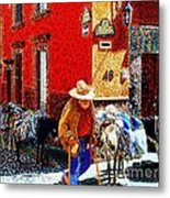 Old Timer With His Burros On Umaran Street Metal Print by John  Kolenberg
