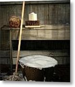 Old Wash Bucket With Mop And Brushes Metal Print by Sandra Cunningham