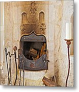 Olde Worlde Fireplace In A Cave  Metal Print by Kantilal Patel