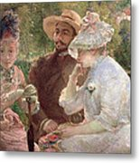 On The Terrace At Sevres Metal Print by Marie Bracquemond